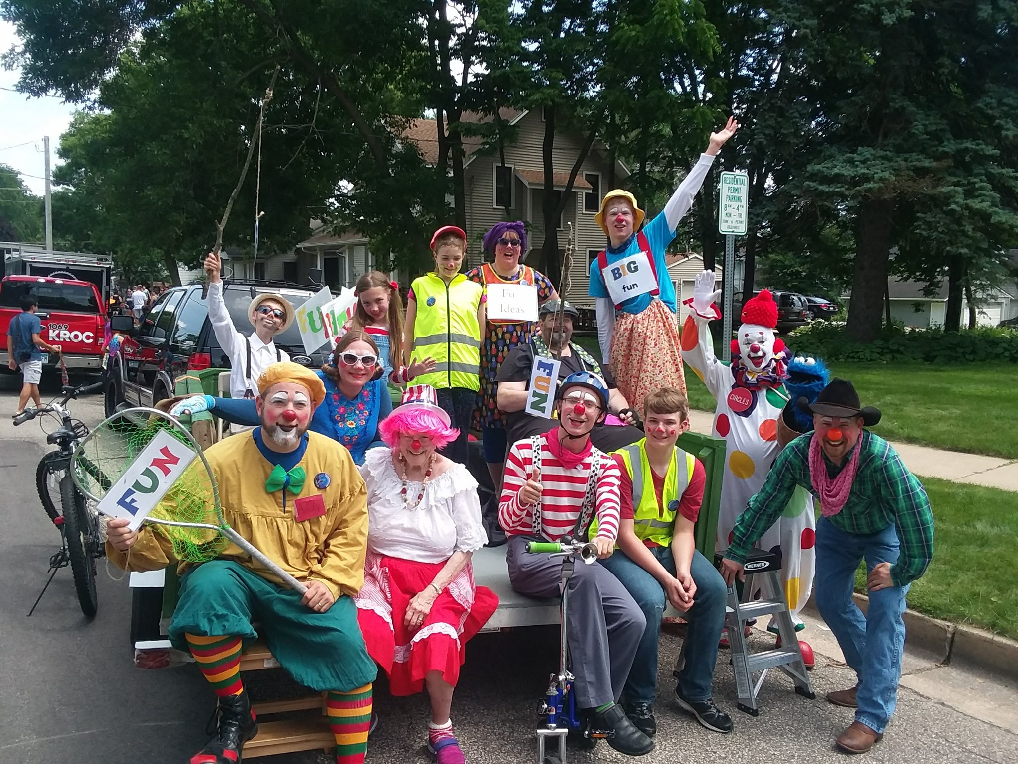 Clowns at the Stewartville Parade in 2019